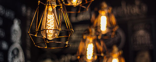 A light bulb on