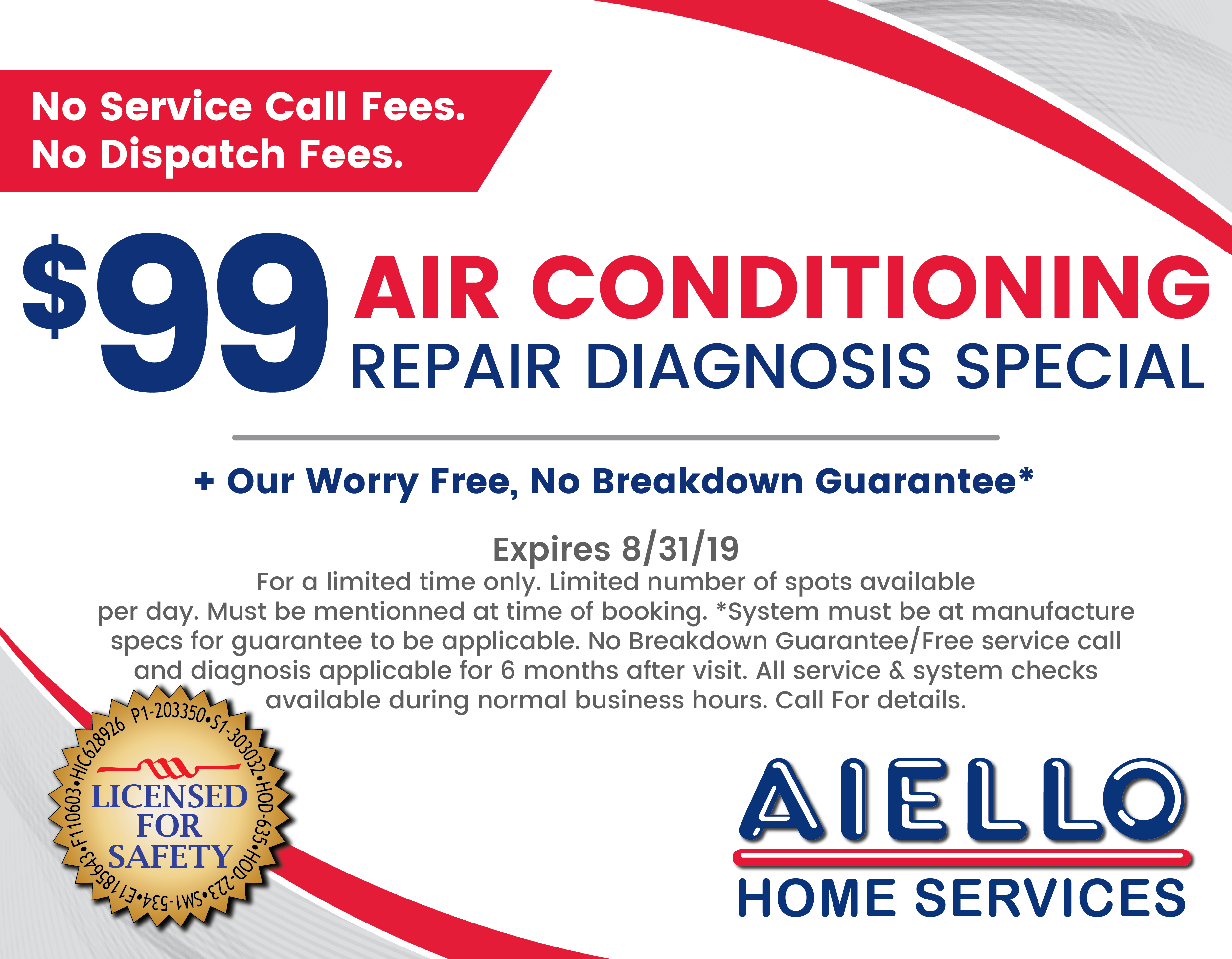 $99 AC Repair Diagnosis Spc. Coupon - Aug 2019-01